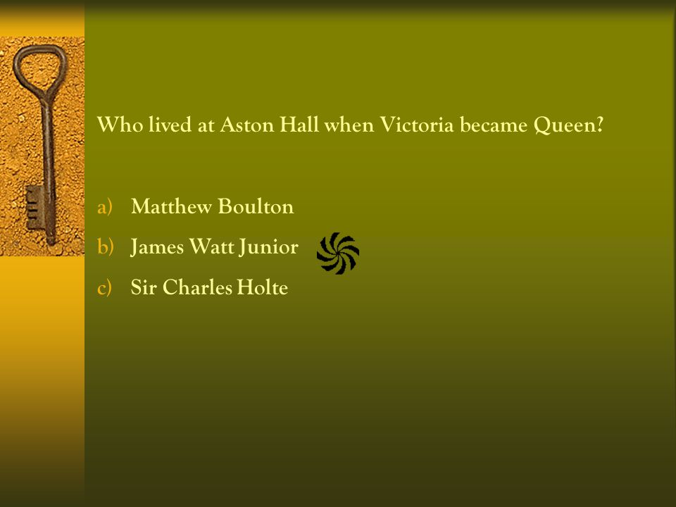 Who lived at Aston Hall when Victoria became Queen.