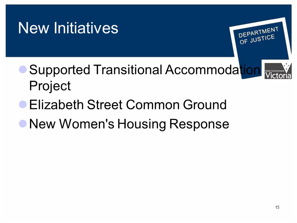 15 New Initiatives Supported Transitional Accommodation Project Elizabeth Street Common Ground New Women s Housing Response