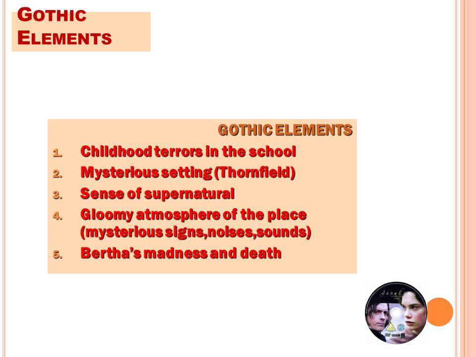 G OTHIC E LEMENTS 1. Childhood terrors in the school 2.