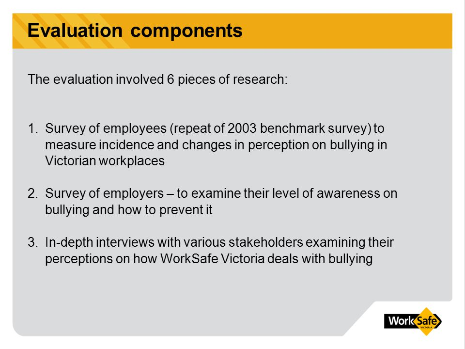 Evaluation components 4.Survey of Bullying Designated Inspectors – examining the adequacy of support and the tools provided to them 5.Detailed case studies – examining how matters are actioned once they are referred to WorkSafe 6.Internal data review – examining calls to OHS advisory service, workplace visits and notices issued