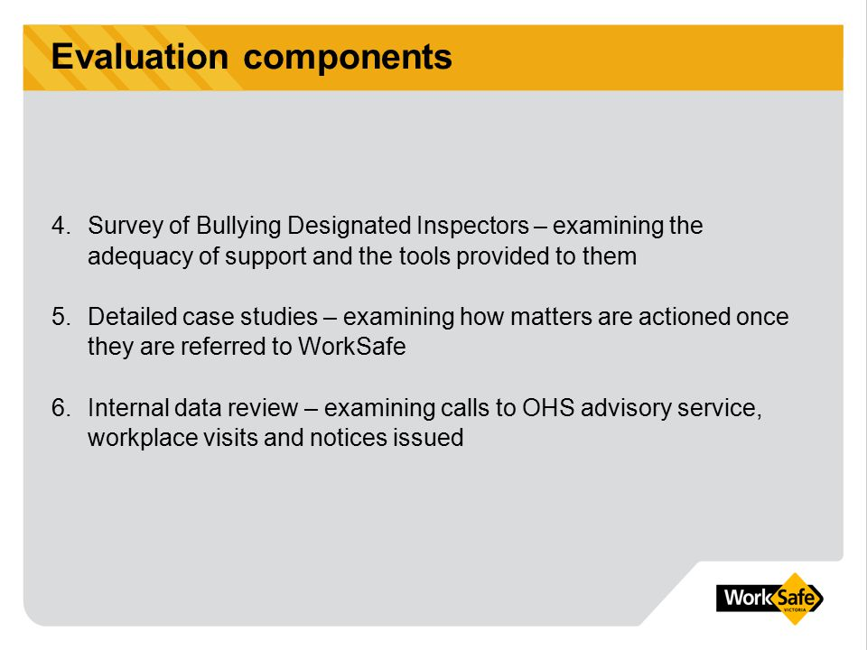Employee survey A survey of 1000 Victorians aged over 18 who were employed full time, part time or on a casual basis Purpose – to measure employee perceptions on a range of issues about their workplaces and bullying Conducted in March 2004 (follow up from 2003 benchmark survey) What did it involve?