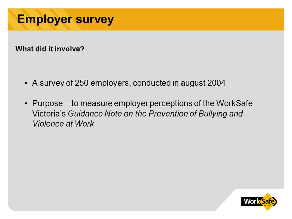 WorkSafe Victoria is a division of the Victorian WorkCover Authority WorkSafe & Prevention of Bullying The next 12 months