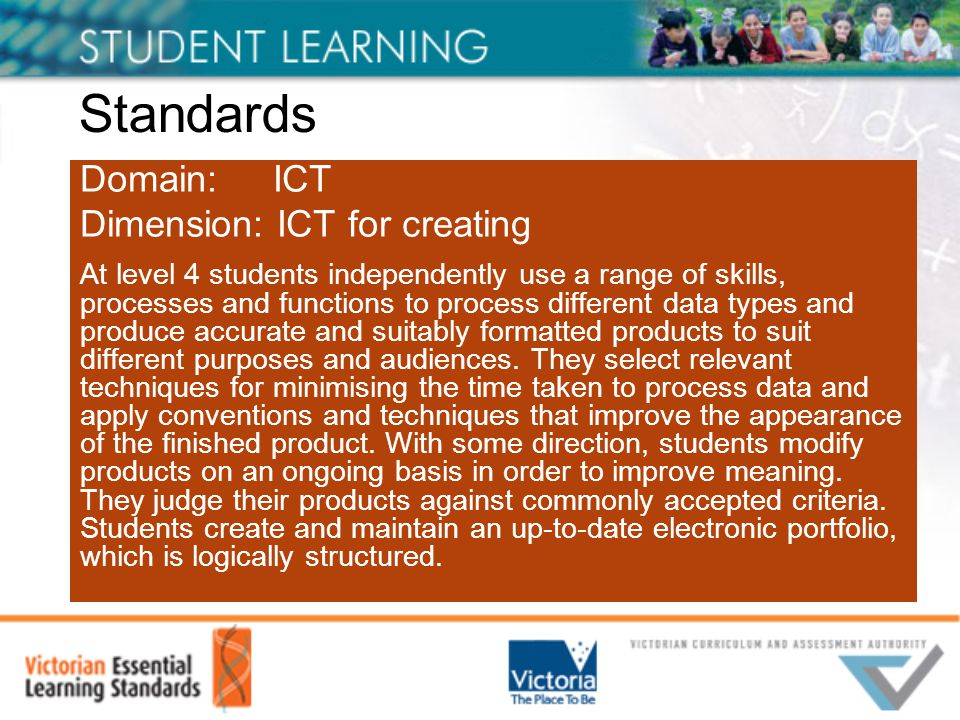 Standards Domain: ICT Dimension: ICT for creating At level 4 students independently use a range of skills, processes and functions to process different data types and produce accurate and suitably formatted products to suit different purposes and audiences.