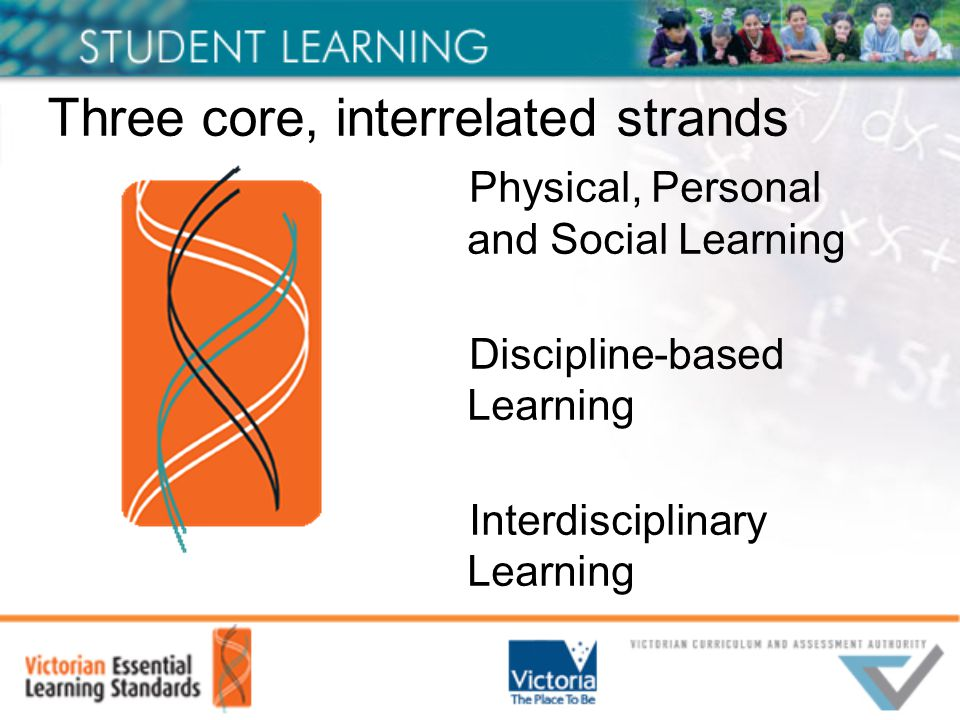 Three core, interrelated strands Physical, Personal and Social Learning Discipline-based Learning Interdisciplinary Learning