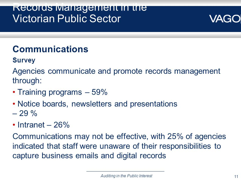 11 Auditing in the Public Interest Records Management in the Victorian Public Sector Communications Survey Agencies communicate and promote records management through: Training programs – 59% Notice boards, newsletters and presentations – 29 % Intranet – 26% Communications may not be effective, with 25% of agencies indicated that staff were unaware of their responsibilities to capture business emails and digital records