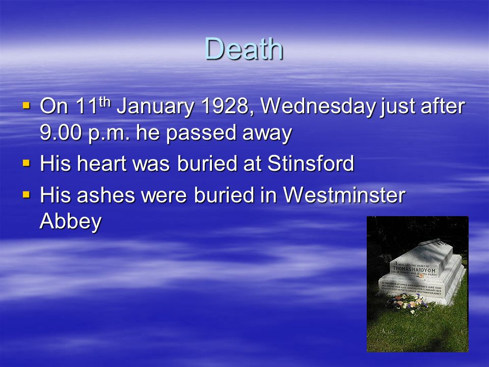 Death  On 11 th January 1928, Wednesday just after 9.00 p.m.