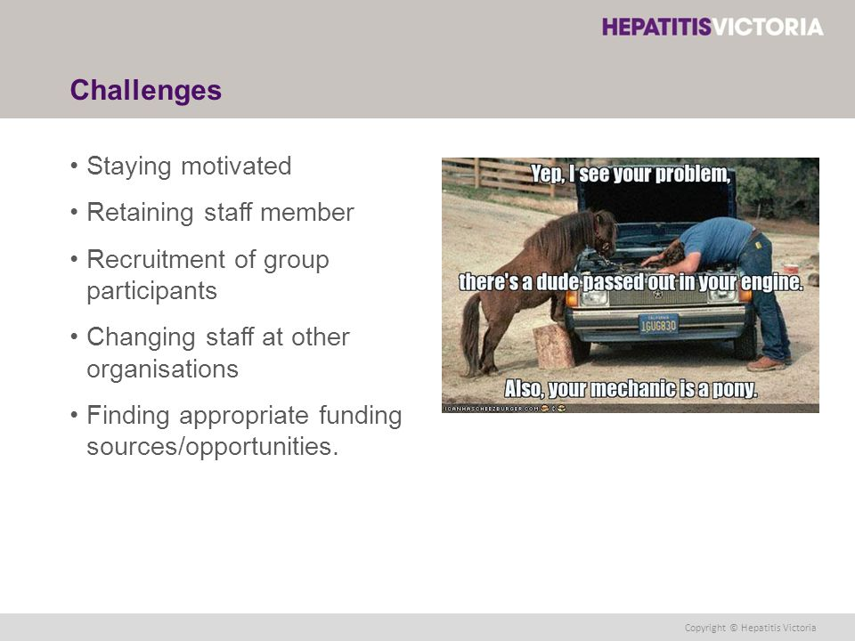 Copyright © Hepatitis Victoria Challenges Staying motivated Retaining staff member Recruitment of group participants Changing staff at other organisations Finding appropriate funding sources/opportunities.