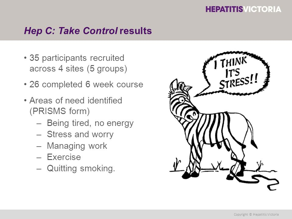 Copyright © Hepatitis Victoria Hep C: Take Control results 35 participants recruited across 4 sites (5 groups) 26 completed 6 week course Areas of need identified (PRISMS form) –Being tired, no energy –Stress and worry –Managing work –Exercise –Quitting smoking.