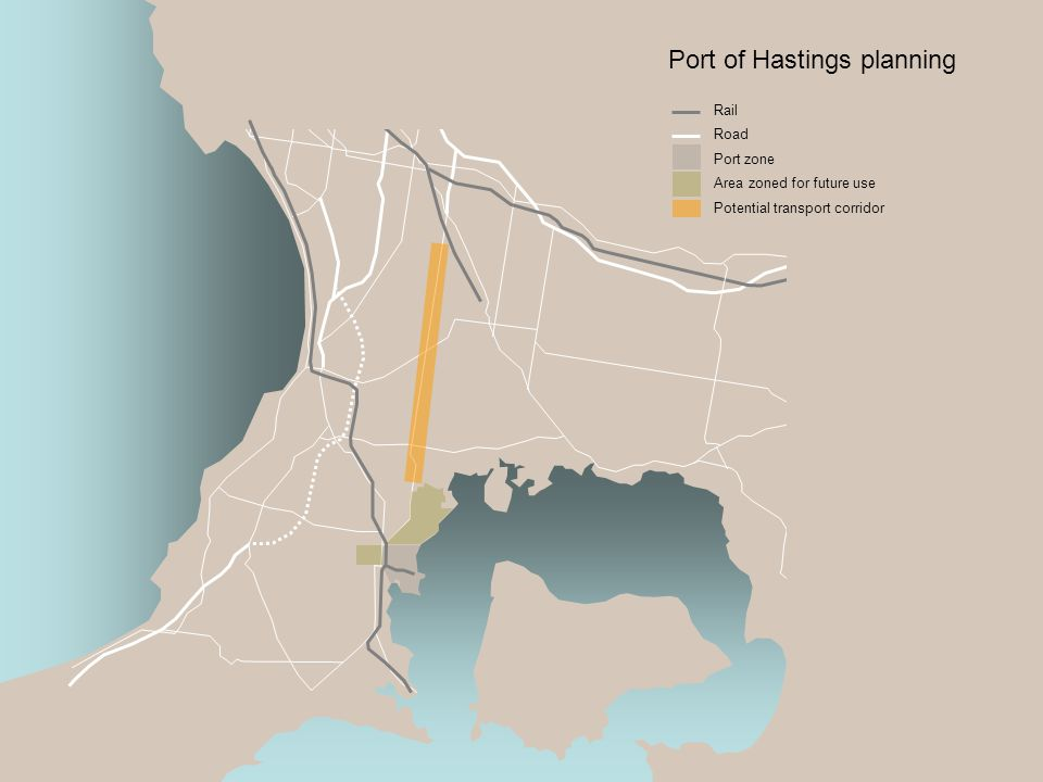 Port of Hastings planning Rail Road Port zone Area zoned for future use Potential transport corridor