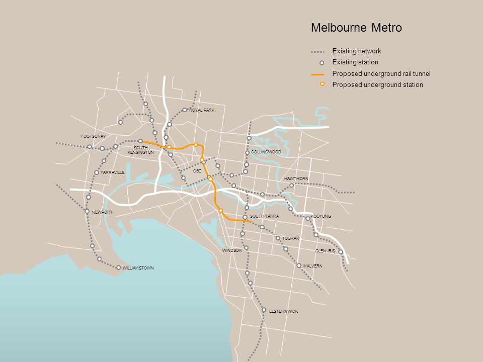 HAWTHORN TOORAK KOOYONG MALVERN SOUTH YARRA WINDSOR YARRAVILLE SOUTH KENSINGTON FOOTSCRAY Melbourne Metro CBD ELSTERNWICK GLEN IRIS COLLINGWOOD ROYAL PARK NEWPORT WILLIAMSTOWN Existing network Existing station Proposed underground rail tunnel Proposed underground station
