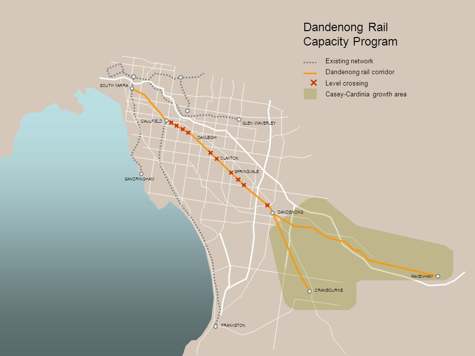Dandenong Rail Capacity Program Existing network Dandenong rail corridor Level crossing Casey-Cardinia growth area DANDENONG SPRINGVALE SOUTH YARRA SANDRINGHAM CAULFIELD GLEN WAVERLEY CLAYTON OAKLEIGH CRANBOURNE PAKENHAM FRANKSTON