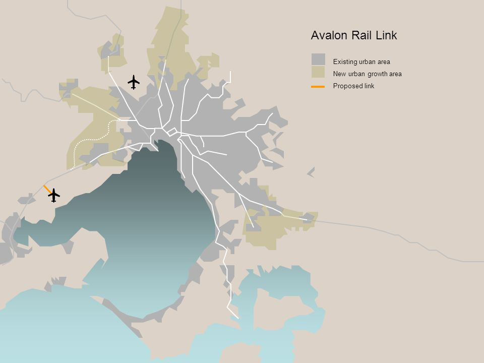 Existing urban area New urban growth area Proposed link Avalon Rail Link