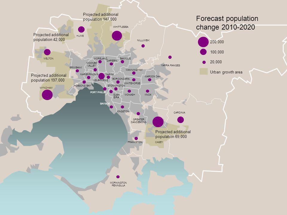 Metropolitan rail Rail under construction Rail at capacity Urban growth area Challenges for the rail network