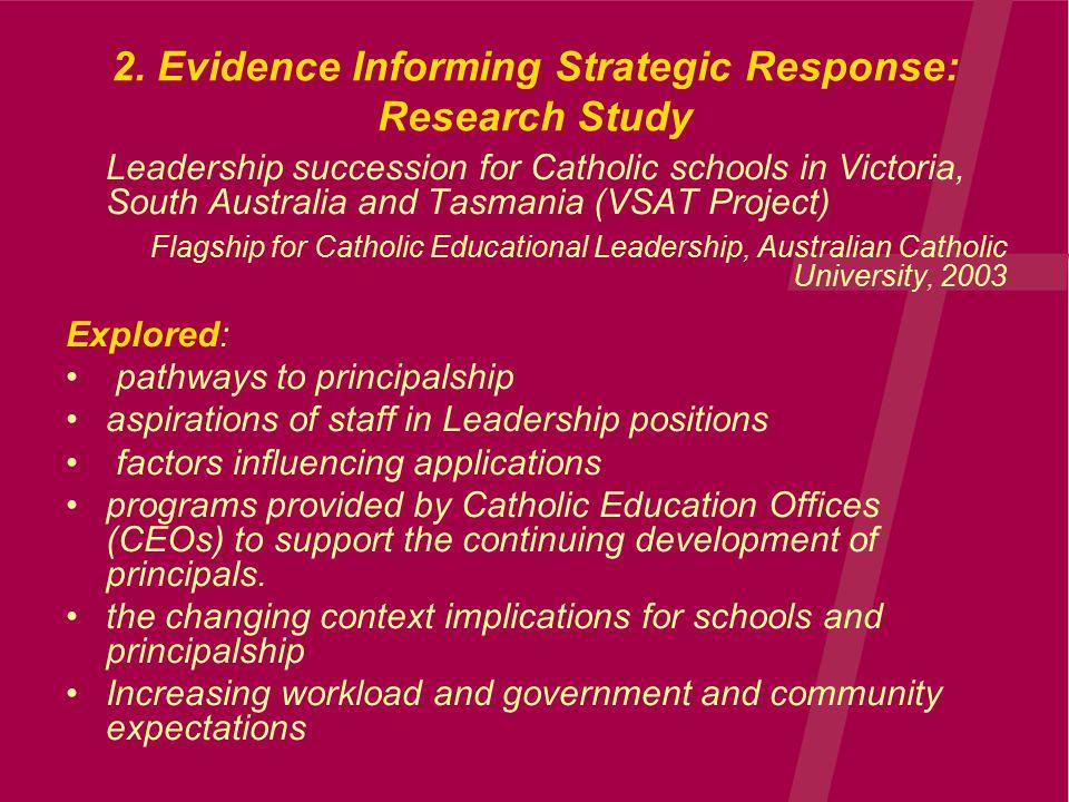 2. Evidence Informing Strategic Response: Research Study Leadership succession for Catholic schools in Victoria, South Australia and Tasmania (VSAT Pr