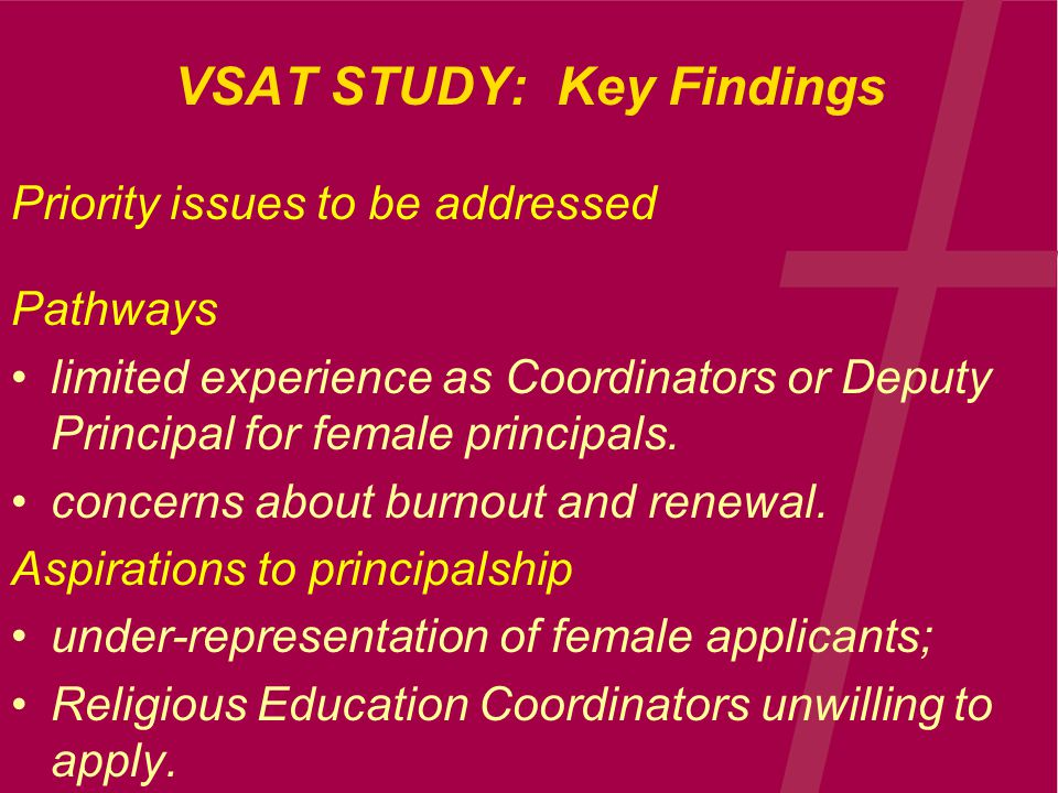 VSAT STUDY: Key Findings Priority issues to be addressed Pathways limited experience as Coordinators or Deputy Principal for female principals.