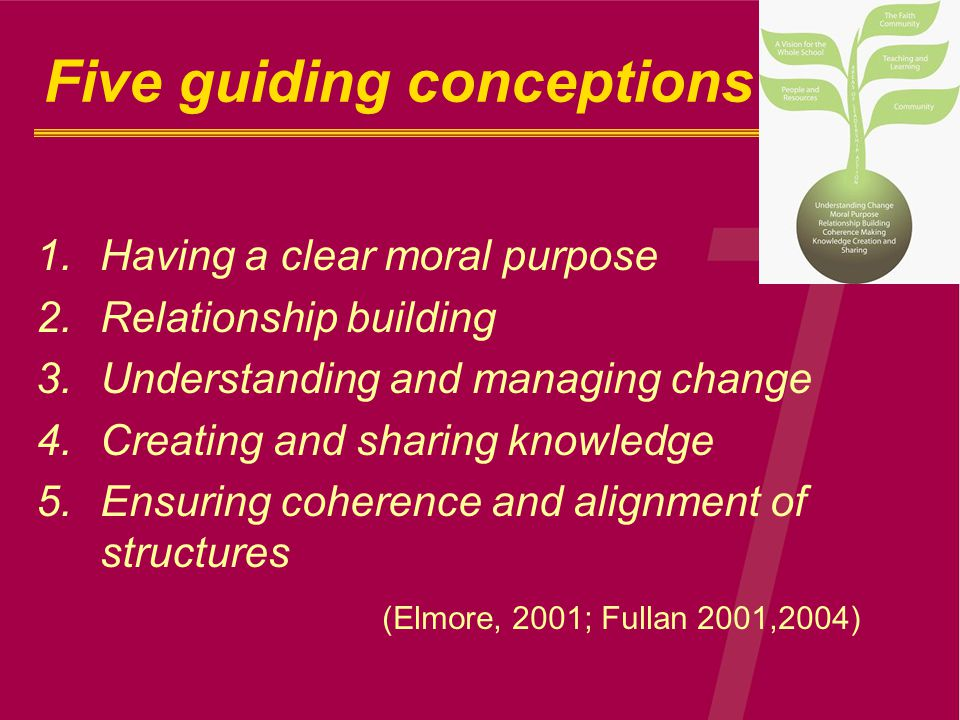 Five guiding conceptions 1.Having a clear moral purpose 2.Relationship building 3.Understanding and managing change 4.Creating and sharing knowledge 5.Ensuring coherence and alignment of structures (Elmore, 2001; Fullan 2001,2004)