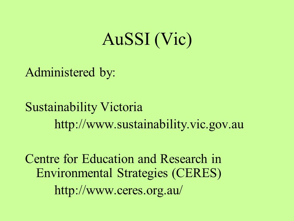 The Australian Sustainable Schools Initiative (AuSSI Vic) modules 1.