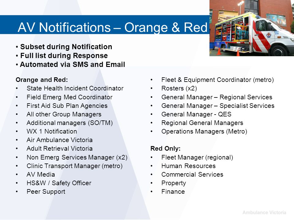 AV Notifications – Orange & Red Orange and Red: State Health Incident Coordinator Field Emerg Med Coordinator First Aid Sub Plan Agencies All other Gr