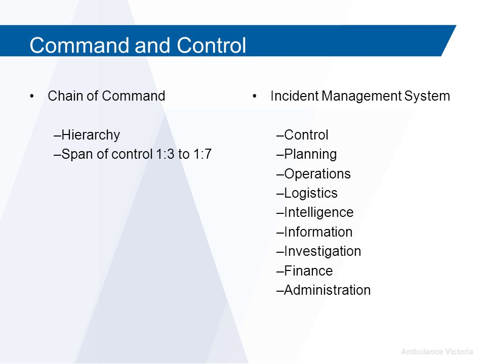 Command and Control Chain of Command –Hierarchy –Span of control 1:3 to 1:7 Incident Management System –Control –Planning –Operations –Logistics –Intelligence –Information –Investigation –Finance –Administration