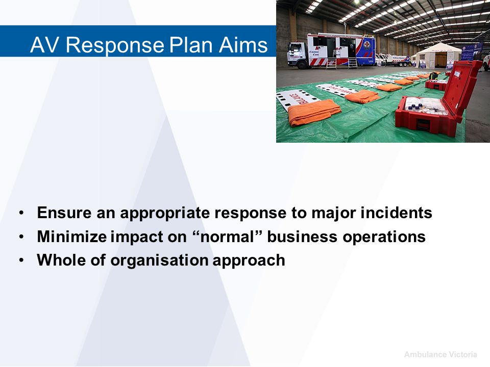 AV Response Plan Aims Ensure an appropriate response to major incidents Minimize impact on normal business operations Whole of organisation approach