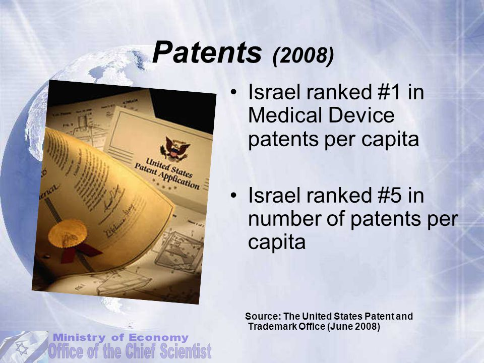 Patents (2008) Israel ranked #1 in Medical Device patents per capita Israel ranked #5 in number of patents per capita Source: The United States Patent and Trademark Office (June 2008)