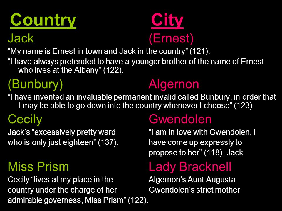 Country City Jack (Ernest) My name is Ernest in town and Jack in the country (121).