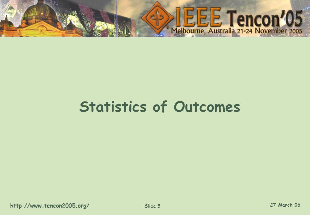 http://www.tencon2005.org/ Slide 5 27 March 06 Statistics of Outcomes