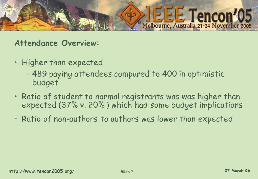 http://www.tencon2005.org/ Slide 7 27 March 06 Attendance Overview: Higher than expected –489 paying attendees compared to 400 in optimistic budget Ratio of student to normal registrants was was higher than expected (37% v.