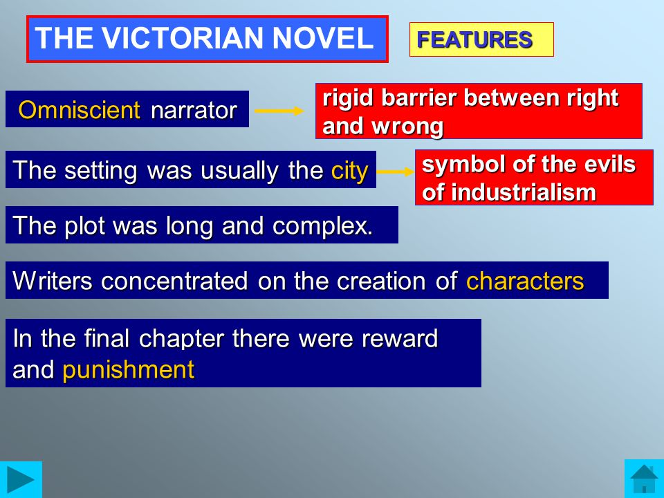 THE VICTORIAN NOVEL ……………. narrator The setting was usually the….. The plot was long and complex. FEATURES In the final chapter there were reward and…