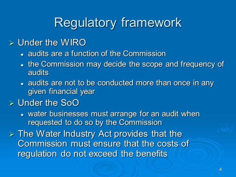 4 Regulatory framework  Under the WIRO audits are a function of the Commission audits are a function of the Commission the Commission may decide the