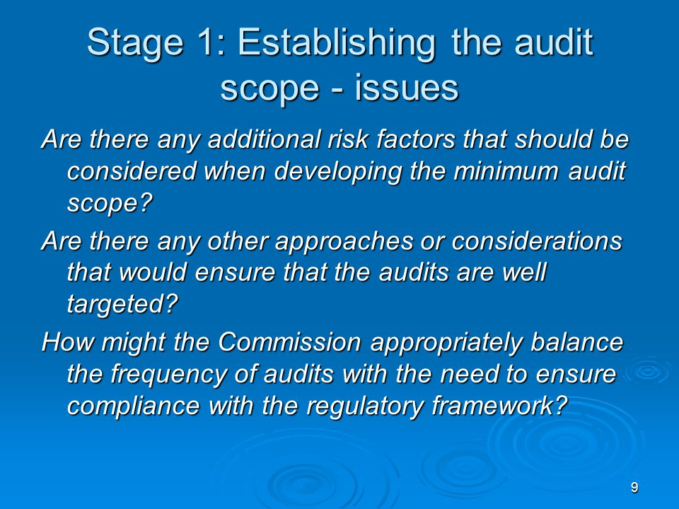 9 Stage 1: Establishing the audit scope - issues Are there any additional risk factors that should be considered when developing the minimum audit sco