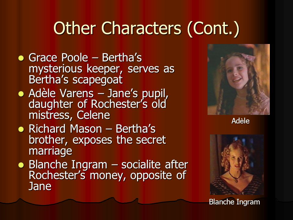 Other Characters (Cont.) Grace Poole – Bertha's mysterious keeper, serves as Bertha's scapegoat Grace Poole – Bertha's mysterious keeper, serves as Bertha's scapegoat Adèle Varens – Jane's pupil, daughter of Rochester's old mistress, Celene Adèle Varens – Jane's pupil, daughter of Rochester's old mistress, Celene Richard Mason – Bertha's brother, exposes the secret marriage Richard Mason – Bertha's brother, exposes the secret marriage Blanche Ingram – socialite after Rochester's money, opposite of Jane Blanche Ingram – socialite after Rochester's money, opposite of Jane Ad è le Blanche Ingram