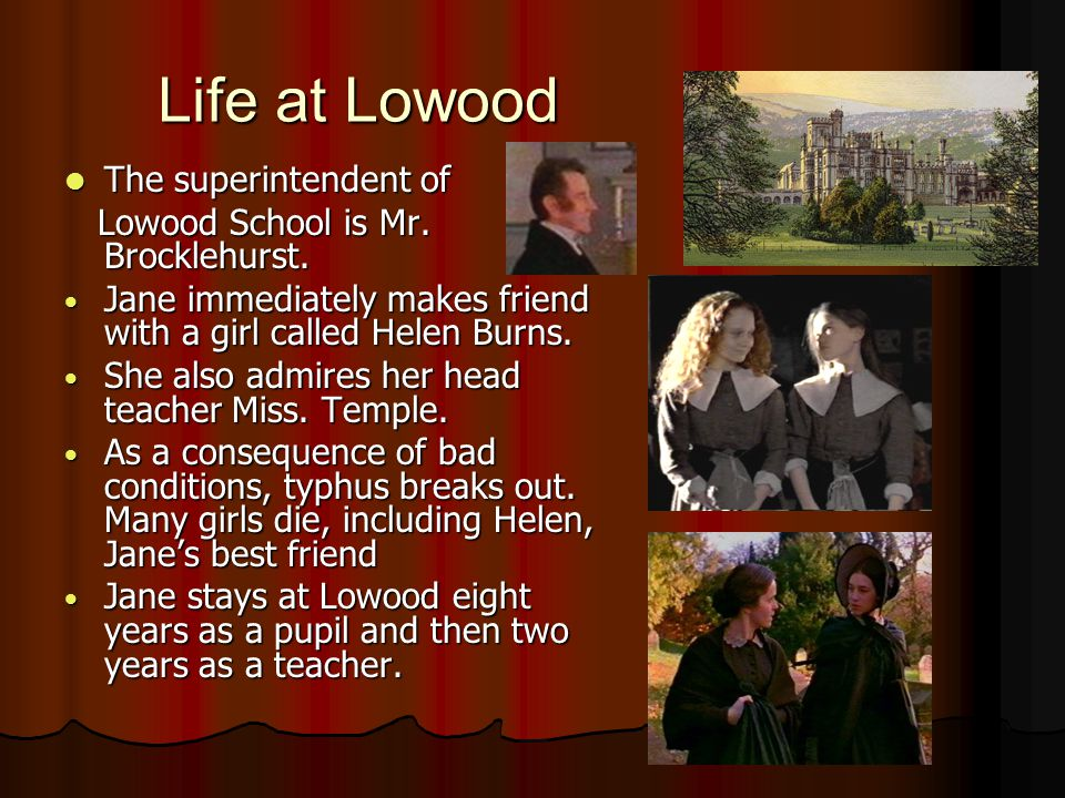 Life at Lowood The superintendent of The superintendent of Lowood School is Mr.