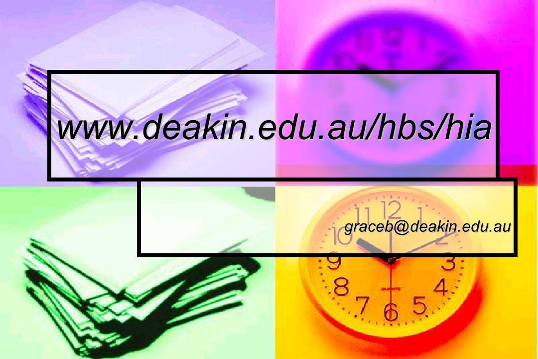 www.deakin.edu.au/hbs/hia graceb@deakin.edu.au