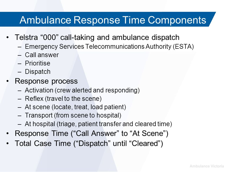 Ambulance Response Time Components Telstra 000 call-taking and ambulance dispatch –Emergency Services Telecommunications Authority (ESTA) –Call answer –Prioritise –Dispatch Response process –Activation (crew alerted and responding) –Reflex (travel to the scene) –At scene (locate, treat, load patient) –Transport (from scene to hospital) –At hospital (triage, patient transfer and cleared time) Response Time ( Call Answer to At Scene ) Total Case Time ( Dispatch until Cleared )