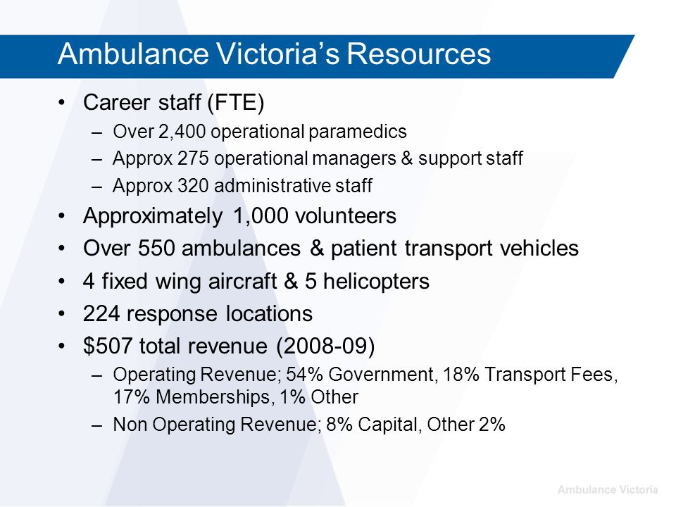 Ambulance Victoria's Resources Career staff (FTE) –Over 2,400 operational paramedics –Approx 275 operational managers & support staff –Approx 320 administrative staff Approximately 1,000 volunteers Over 550 ambulances & patient transport vehicles 4 fixed wing aircraft & 5 helicopters 224 response locations $507 total revenue (2008-09) –Operating Revenue; 54% Government, 18% Transport Fees, 17% Memberships, 1% Other –Non Operating Revenue; 8% Capital, Other 2%