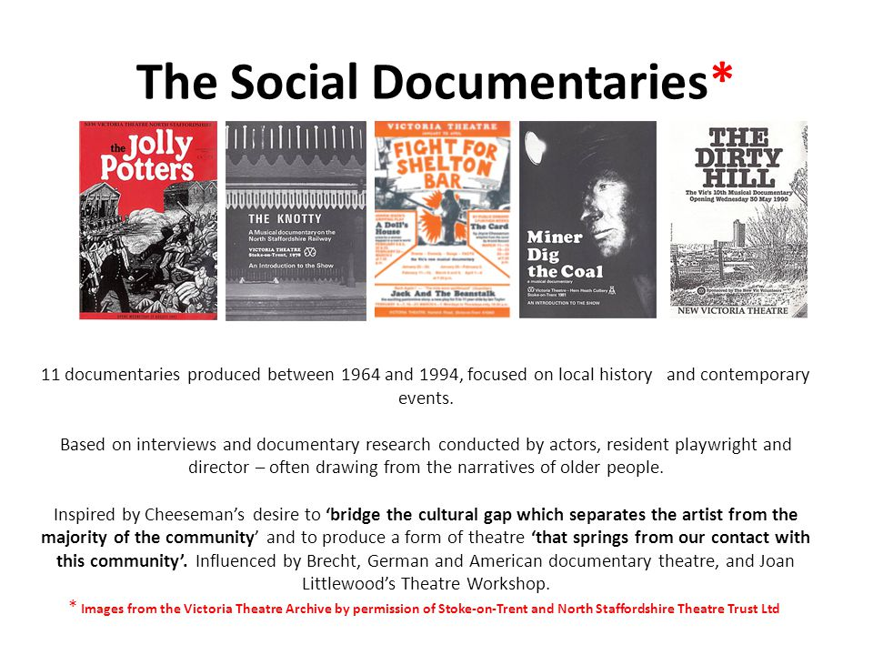 The Social Documentaries* 11 documentaries produced between 1964 and 1994, focused on local history and contemporary events.