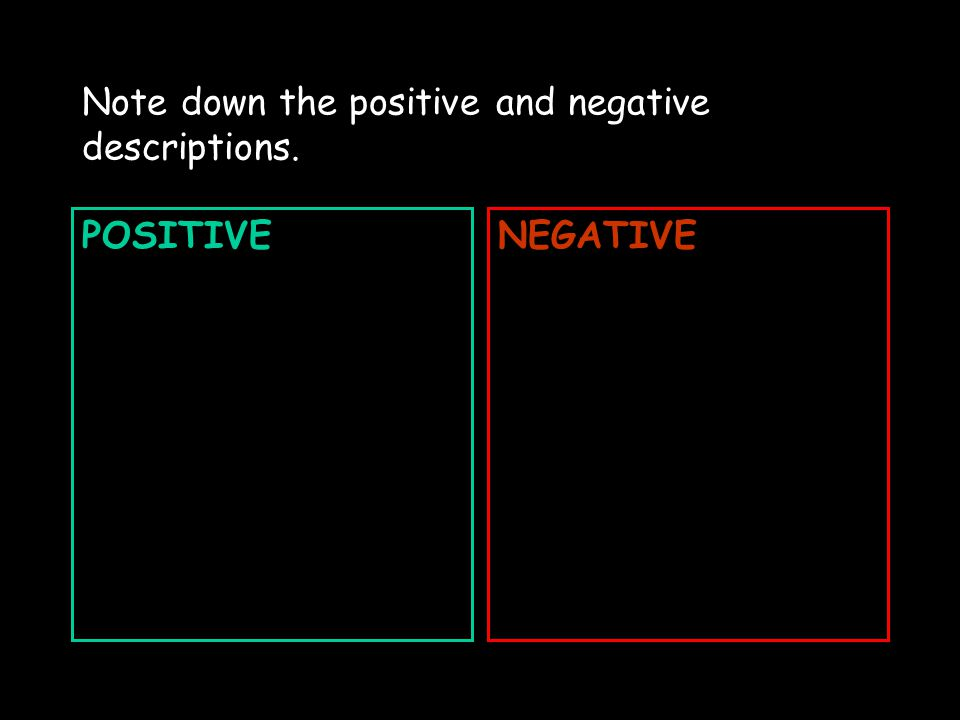 www.englishteaching.co.uk Note down the positive and negative descriptions. POSITIVENEGATIVE