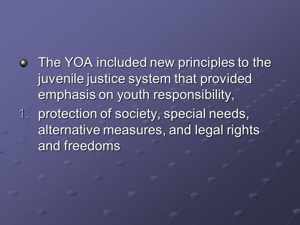 The YOA included new principles to the juvenile justice system that provided emphasis on youth responsibility, 1.protection of society, special needs, alternative measures, and legal rights and freedoms