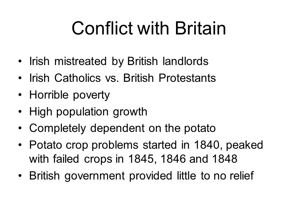 Conflict with Britain Irish mistreated by British landlords Irish Catholics vs.