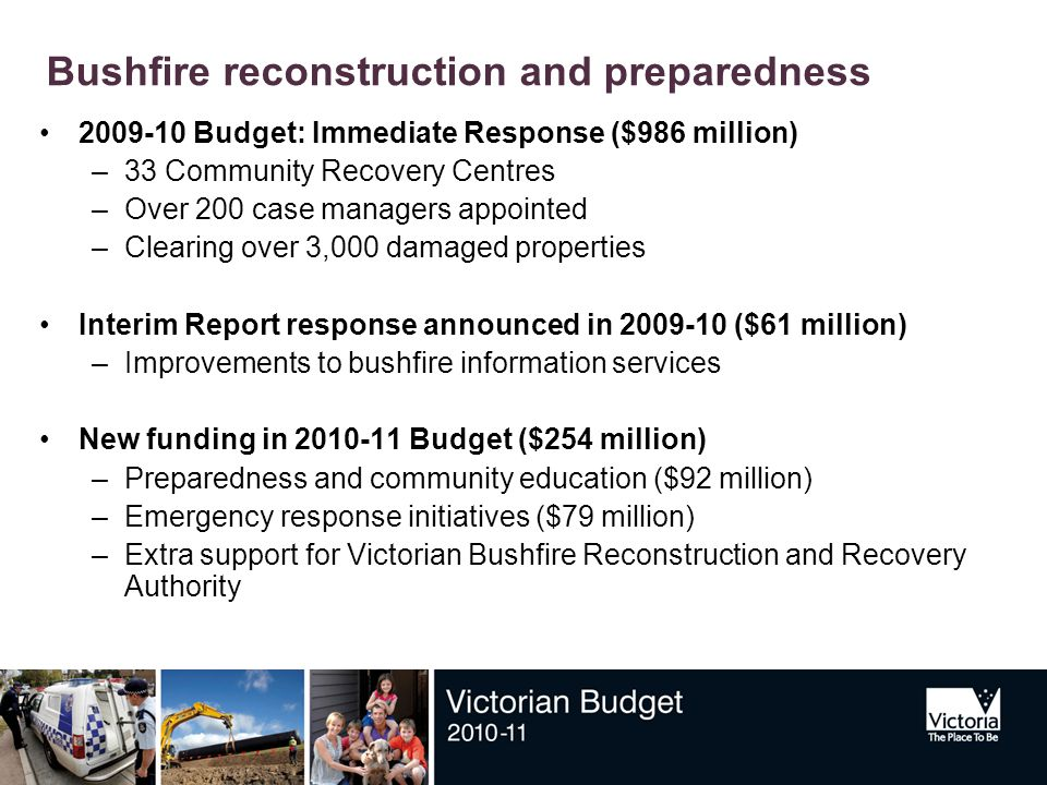Bushfire reconstruction and preparedness 2009-10 Budget: Immediate Response ($986 million) –33 Community Recovery Centres –Over 200 case managers appointed –Clearing over 3,000 damaged properties Interim Report response announced in 2009-10 ($61 million) –Improvements to bushfire information services New funding in 2010-11 Budget ($254 million) –Preparedness and community education ($92 million) –Emergency response initiatives ($79 million) –Extra support for Victorian Bushfire Reconstruction and Recovery Authority