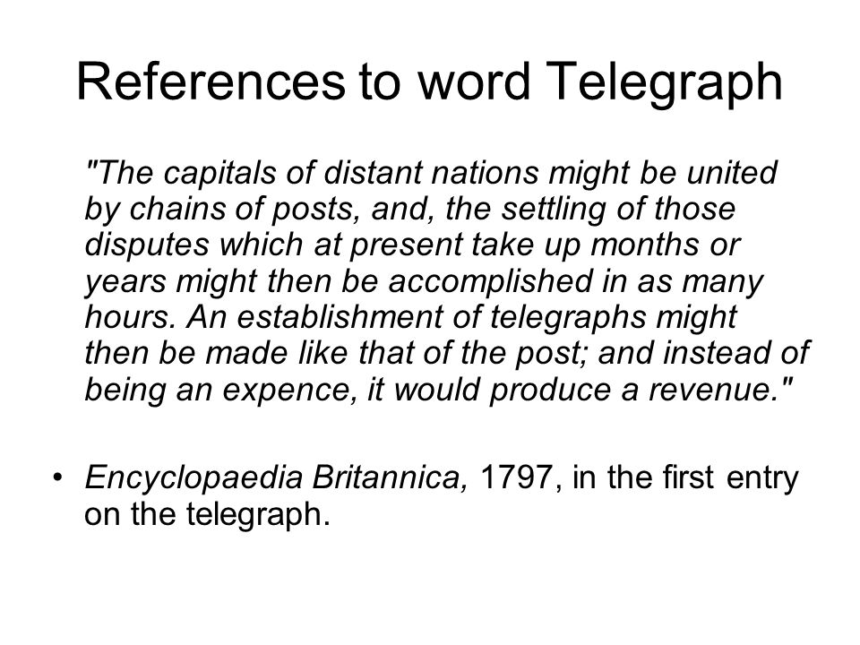 References to word Telegraph
