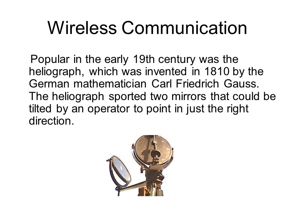 The Occulting Telegraph Babbage entered the optical communications arena in 1851 with a plan for a light-flashing machine that he named the occulting telegraph. This is how Babbage described his device: I then, by means of a small piece of clock- work and a lamp, made a numerical system of occultation, by which any number might be transmitted to all those within sight of the source of light.