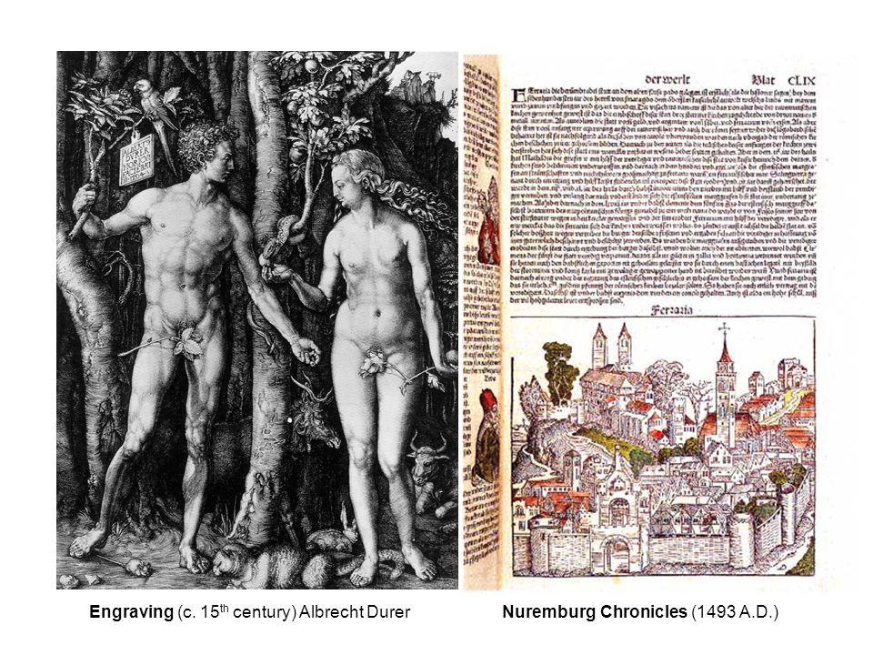 Engraving (c. 15 th century) Albrecht Durer Nuremburg Chronicles (1493 A.D.) x