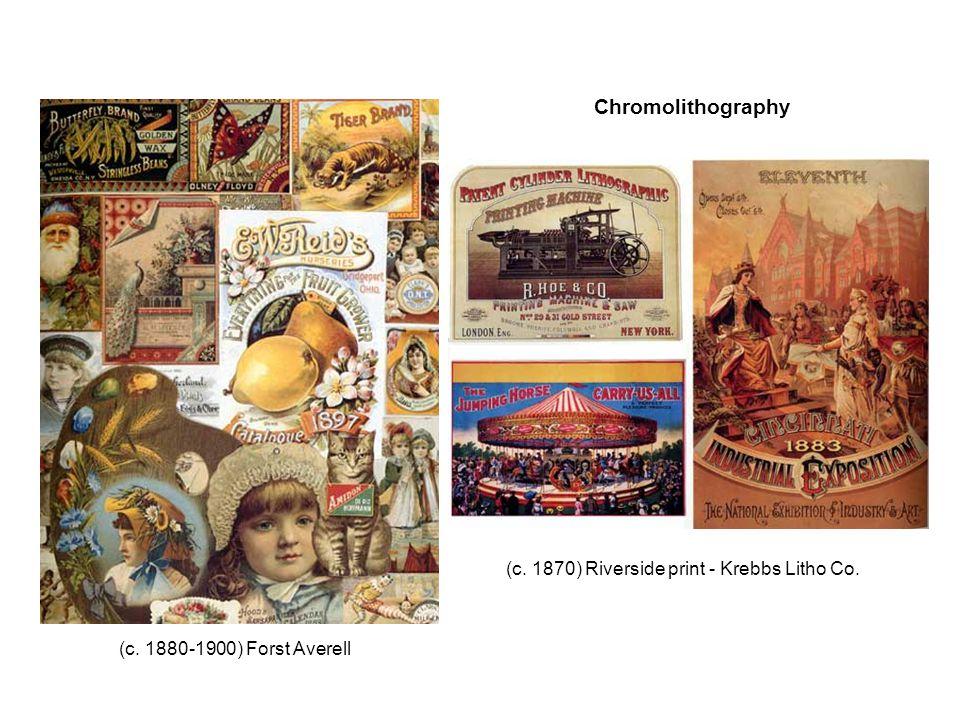 (c. 1880-1900) Forst Averell (c. 1870) Riverside print - Krebbs Litho Co. Chromolithography