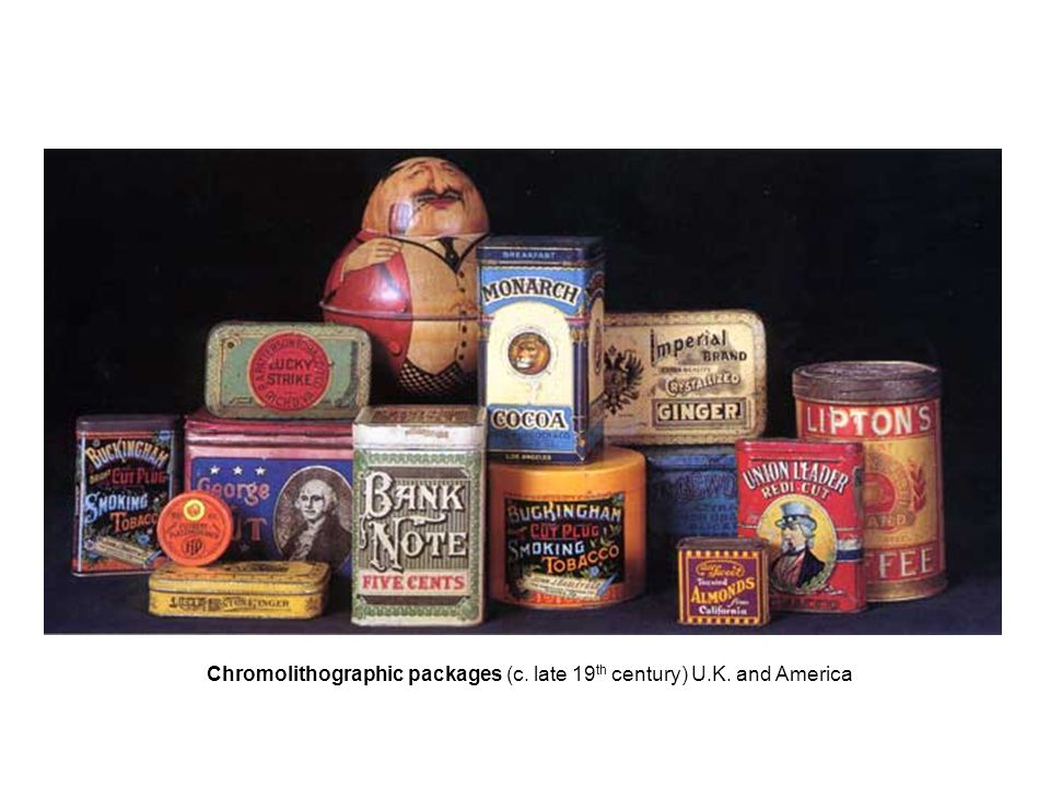 Chromolithographic packages (c. late 19 th century) U.K. and America