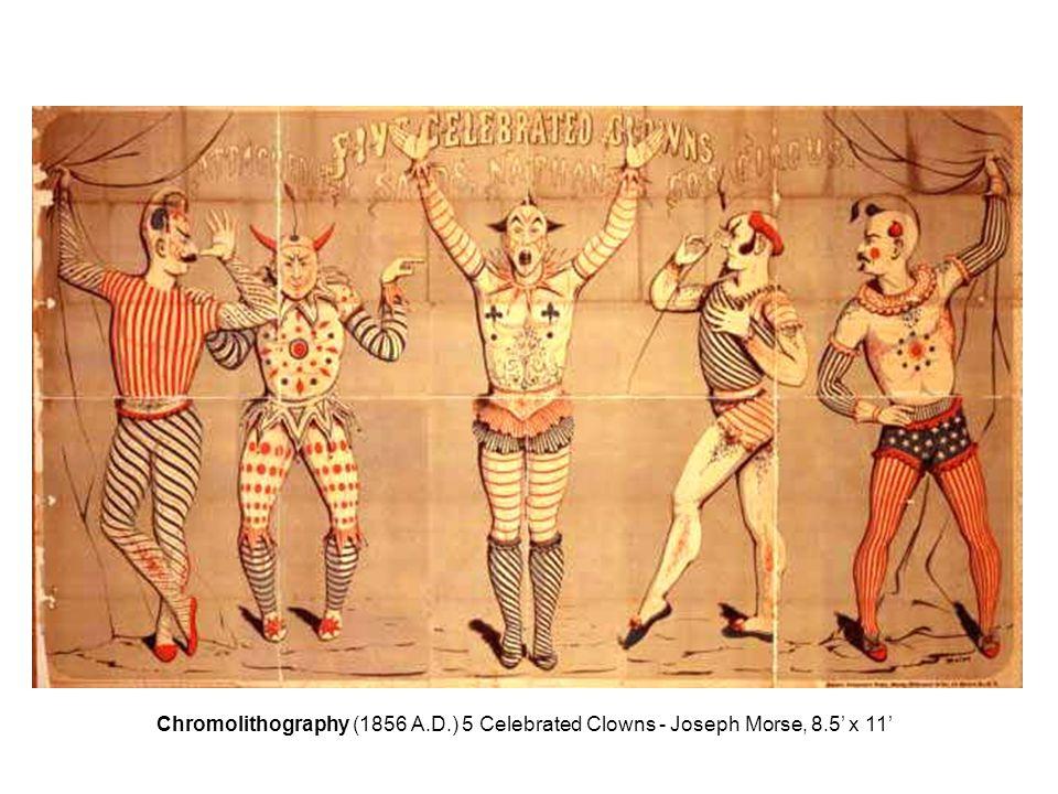 Chromolithography (1856 A.D.) 5 Celebrated Clowns - Joseph Morse, 8.5' x 11'
