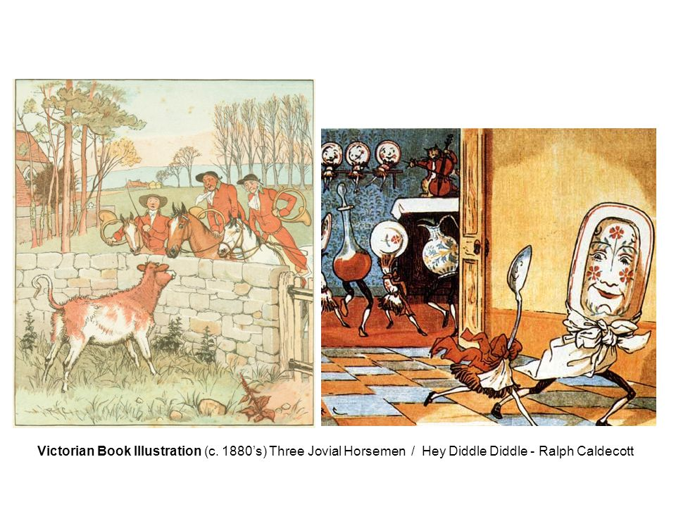 Victorian Book Illustration (c. 1880's) Three Jovial Horsemen / Hey Diddle Diddle - Ralph Caldecott