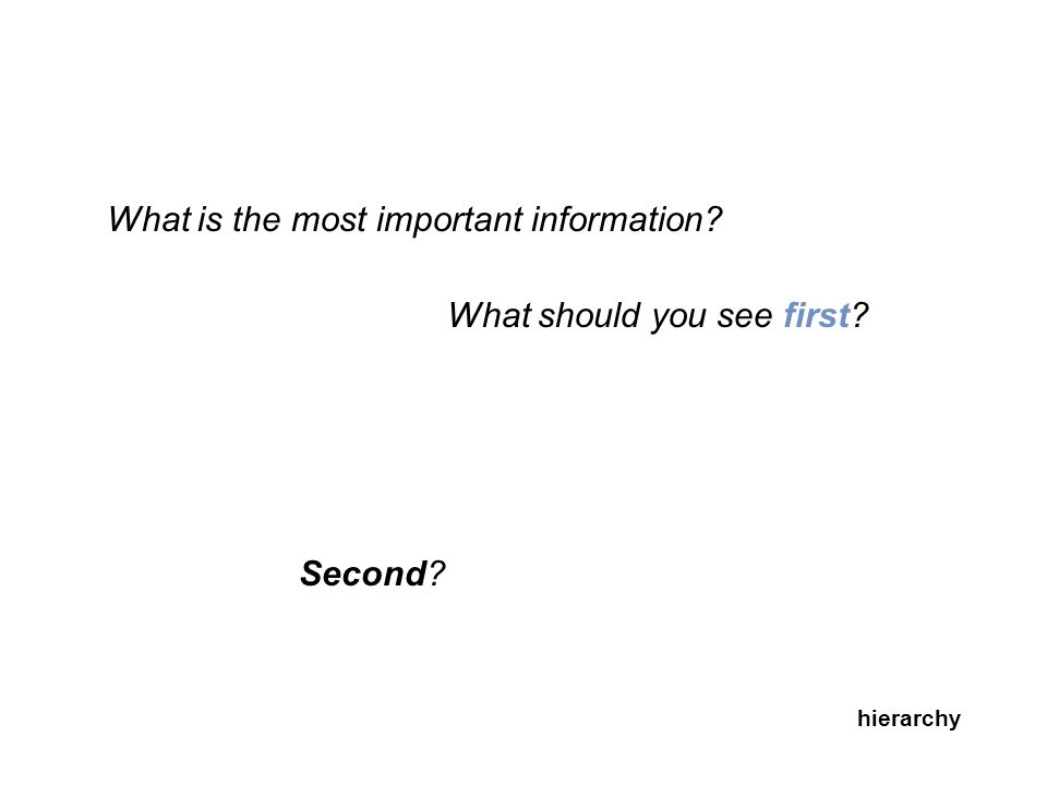 What is the most important information? What should you see first? Second? hierarchy