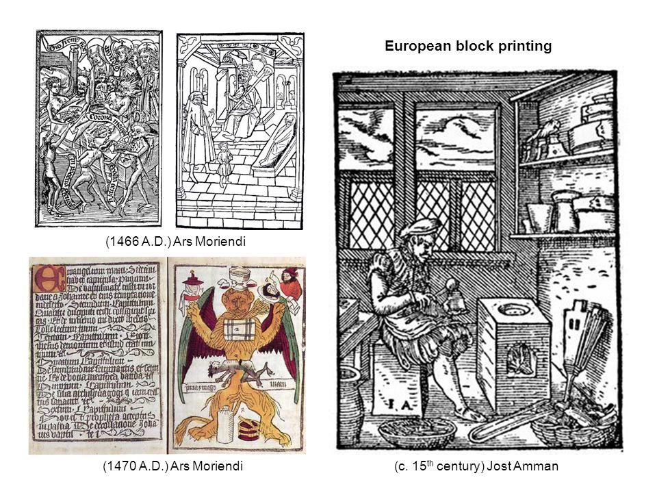 (c. 15 th century) Jost Amman (1466 A.D.) Ars Moriendi (1470 A.D.) Ars Moriendi European block printing
